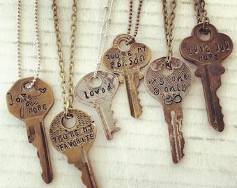 Stamped Vintage Key Necklace