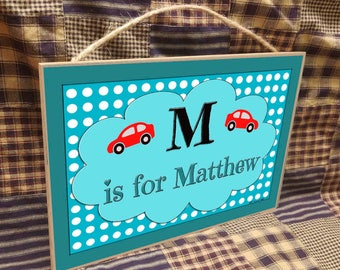 """Personalized Car Cars Name Kids Room Baby Nursery 7"""" x 10.5"""" SIGN Plaque  Decor Customized Custom"""