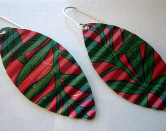 Recycled Tin Earrings, Red and Green Leaves, with sterling silver ear wires