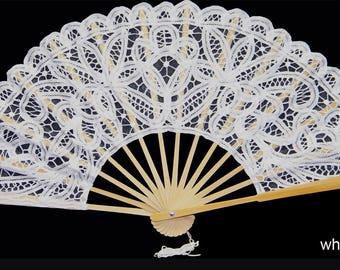 Battenburg Lace Wedding Bridal Fan White