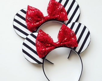 Black and White Striped Mouse Ears