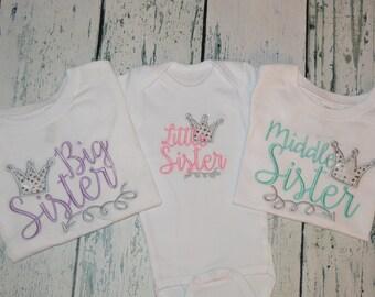 Princess Sisters Sibling Shirt Set of 3 - Big Sister Middle Sister Little Sister Glitter Crown and arrow Sibling set