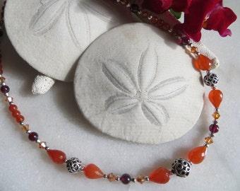 Carnelian Necklace, Bali Necklace, Garnet Necklace, Orange Swarovski Crystal Necklace, Sterling Silver Necklace, January Birthstone Necklace
