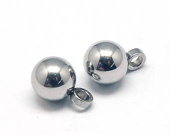 2 or 10 5mm stainless steel ball pendants