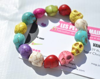 elastic multicolor skull bracelet