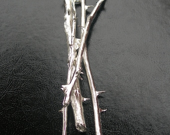 Silver Rose Stem Sculpture Symbol of Enduring Love - Four Stems