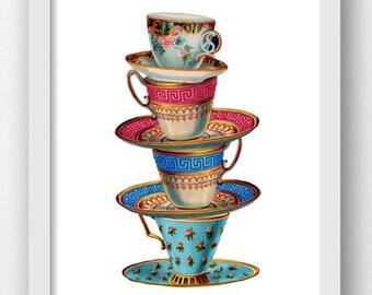Teacup, Teacups Vintage, Vintage Teacups, Sacked Teacups, Teacups Stacked, Vintage Tea Cup, Teacup Print, Digital Print, Teacup Clipart