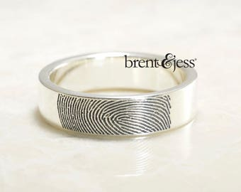 Personalized Fingerprint Ring, custom wedding band , Handmade in the USA with Your Actual Fingerprint
