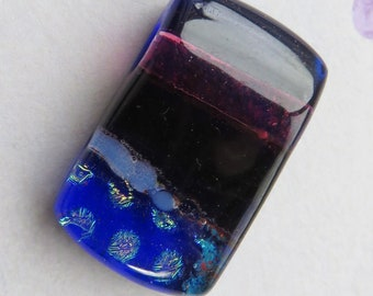 Dichroic Purple and Blue Rectangle Glass Pendant Bead, 1 Bead - Item 5355