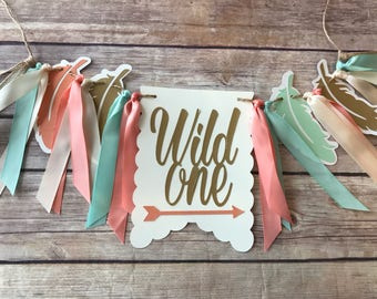 NEW!!  Wild One Birthday Mint Gold | High Chair Highchair Banner photo prop First Birthday 1st Decoration