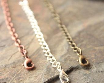 "6 inch Extender chain, 15cm Extension chains lengthen necklace longer 6"" extender copper extender antiqued brass silver plated extender"