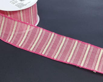 "FREE SHIPPING- 2.5"" Wired Pink and Cream Cotton Ribbon - Premium Lion Ribbon - 5 Yards"