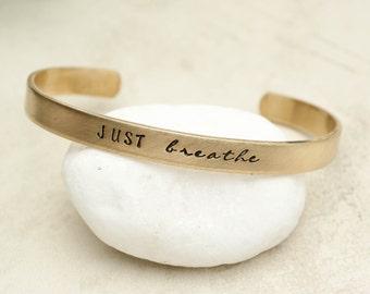 Custom Bracelet, Personalized Bracelet, Custom Gold Brass Bracelet, Custom Phrase or Name, Personalized Cuff Bracelet, Mantra, Custom Quote