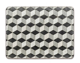 6 Grey Place mats Coasters Savile Row in Gatsby range Large Melamine Heat resistant 160 Anniversary Gifts Mothers day gift FREE UK Shipping