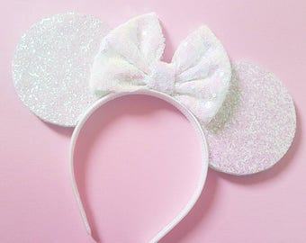 Irredescent Glittery White Mouse Ears || Wedding Mouse Ears  Mouse Ears|| Mouse Ears Headband