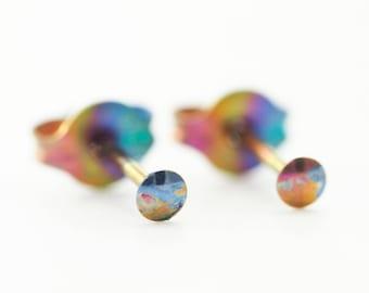 1 pair 2mm Anodized Niobium Post Earrings