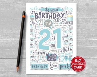 "Printable 21st Birthday Card - Doodled Twenty One Birthday Card in Blue - 5""x7"" plus printable envelope template. Instant Download."