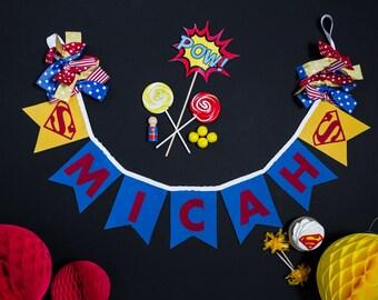 HAPPY BIRTHDAY BANNER - 1st birthday boy - Superhero banner - Letter banner - Highchair banner - Baby shower banner - First birthday banner