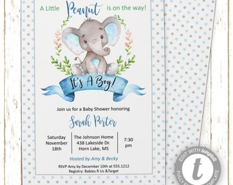 Baby Boy Elephant Invitation | Baby Shower | Printable Editable Digital PDF File | Templett | BSI120DIY
