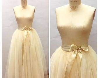 Champagne Dreams Wedding Skirt Floor Length/Maxi Tulle with Satin Ribbon Sash