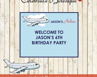 Airline FILLABLE Poster Baggage Claim sign Birthday Party  Airplane Theme Instant Download Editable Welcome Poster Table Gift Table BD21