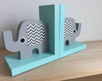 Elephant Bookends, Elephant Nursery, Elephant Kids Decor, Gray and Blue, Gray and Aqua Nursery, eco friendly