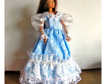 Barbie Dress Blue and White with Star Pattern