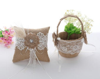 Burlap Ring Pillow and Flower Girl Basket, Ring Bearer Pillow and Flower Girl Basket, Wedding Gifts-1 Set