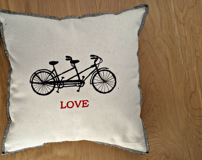 Embroidered Vintage Graphic Tandem Reto Bicycle Love Upcycled Canvas Pillow