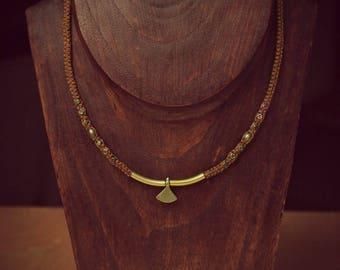 Necklace macrame color rust Perle brass & bronze