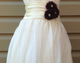 Many colors available ivory Chiffon flower girl dress,Eggplant flowers Size Child 1T - 14