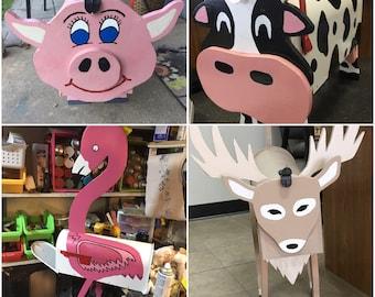 Animal Mailboxes, Cow Mailbox, Pig Mailbox, Lemur Mailbox