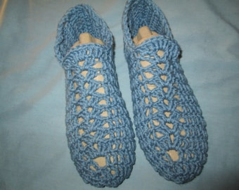 Adult Blue Slippers Crocheted by SuzannesStitches, Children Crochet Slippers, Teen Crocheted Slippers, Handmade Adult House Slippers