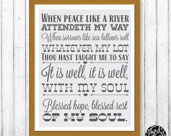 It Is Well With My Soul Typographic Hymn Subway Print (11x14)