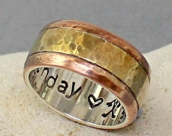 Men's Ring- Promise Ring.. Wedding Band.. Custom Silver-Brass-Copper Ring.. Sterling silver brass and copper Band.. Mens / womens Band..