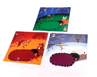 "Cute Seasonal Prints, Set of 3 - 12"" autumn, winter and spring landscapes with cartoon animals. Nursery art of squirrels, rabbits and robins"