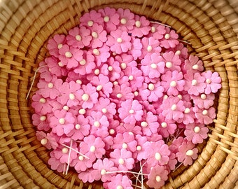 50 Pink color mulberry paper flower embellishment with thread stem for Craft & D.I.Y(Size 10 mm) #120