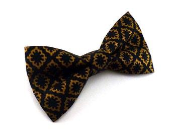 Black and gold art deco diamond clip on bow tie – roaring 20's theme