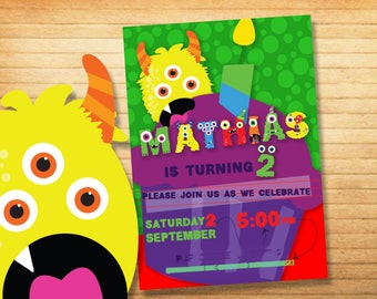 Monster party invitation with personalized name