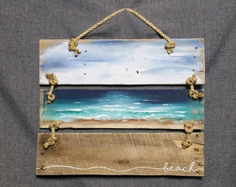 Beach Pallet art, Nautical decor, Beach painting, rope accent, Distressed seascape, Shabby Cottage decor, Hand painted, upcycled pallet
