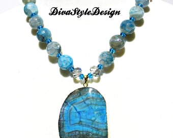 Sky Blue Agate Statement  Necklace with a Ocean Agate Pendant