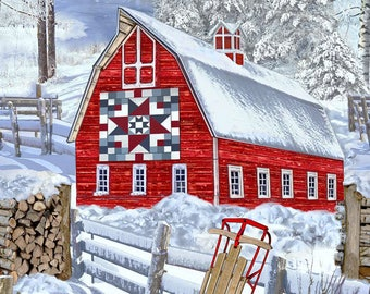 Red Barn in Snow Panel by Timeless Treasures
