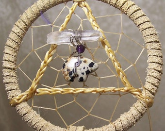 SERENITY BEAR - 3 Inch Dreamcatcher in Beige and Purple by Feathered Dreams