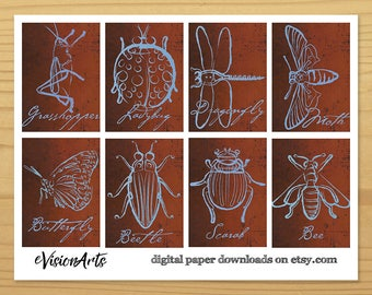 Insect Gift Tags, Insect Art Tags, Bug Gift Tags, Bug Art Tags, Cool Bug Tags, Artistic Gift Tags, Digital Download