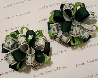 Money Hair Bows, Money Puffs, Money Bow