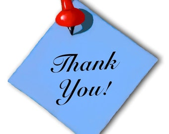 Round Stickers, THANK YOU! Artwork of Blue Memo with Red Thumbtack, For Packages, Customers, Etc., 48 Stickers
