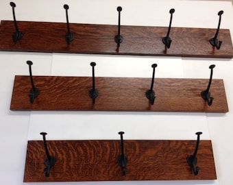 """Family Woodworks Quartersawn White Oak Mission Style Arts & Crafts 30"""" Coat Rack With Hooks"""