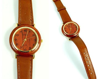 Vintage 80s Brown Leather Faux Bois Watch in Box - UNWORN - fully working
