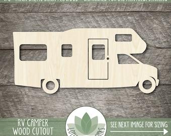 RV Camper Wood Cutout, Camper Wood Shape, Blank Wood Shapes, RV Crafting Supply, Camping Woood Shapes, Wood Sign Making Supplies