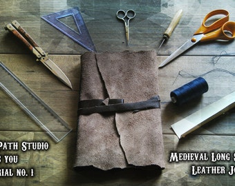 Tutorial: hand bound journal, softcover leather notebook, step by step distressed sketchbook instructions, medieval long stitch book binding